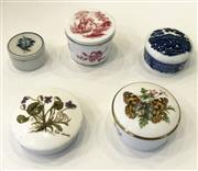 Sale 8436A - Lot 2 - A group of five bone china and pill boxes including Royal Worcester and Spode.