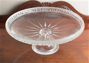 Sale 8470H - Lot 12 - A large impressive cut glass footed tazza with Athenian motif etched to rim, D 37cm