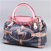 Sale 8541A - Lot 9 - A Fendi waxed canvas tote, #49/27/11937, with horse and stirrup designs, pink leather strap, W 44cm