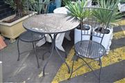 Sale 8550 - Lot 1378 - Metal Three Piece Outdoor Suite incl. Round Top Table & Two Chairs