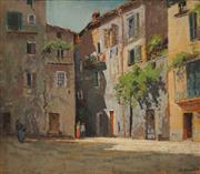 Sale 8665A - Lot 5070 - J H Young (1895 - 1910) - Town Scene, Sospel 34 x 38.5cm