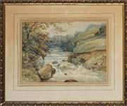 Sale 8856 - Lot 2050 - H W Davis The River Lludgy, neary Capel Curig, 1880 watercolour, 46 x 56cm, signed and dated lower -