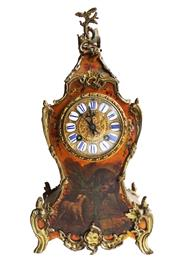 Sale 8912H - Lot 37 - Antique French  Louis XV style clock  c 1890 in painted case with bronze mounts. With key and pendulum . Overall Height 36 cm