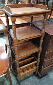 Sale 8993 - Lot 1077 - Rare Victorian Mahogany What Not Combination Music Canterbury, of three tiers on turned supports, with dividers below and a drawer