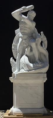 Sale 9080G - Lot 5 - A Large Carved White Marble Sculpture of Hercules and Hydra. After the work of Lorenzo Mattielli on the Hofburg Facade in Vienna. Co...