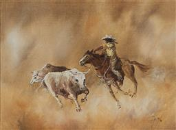Sale 9109A - Lot 5004 - John Guy (1944 - 2000) Drover oil on canvas on board 21.5 x 29.5 cm (frame: 38 x 46 x 3 cm) signed lower right