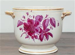 Sale 9120H - Lot 352 - An early Derby twin handled ceramic ice pale with puce floral sprig. Height 17cm x Width 26cm