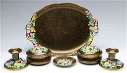 Sale 9168 - Lot 480 - Collection of Tuscan ceramics inc platter (L:30cm), two candles holders (H:7cm) a dish (Dia:9.5cm) and two lidded containers (Dia:11cm)
