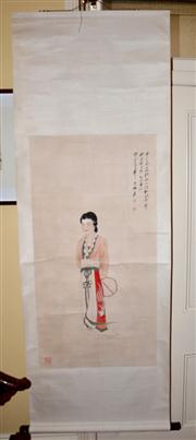 Sale 7997 - Lot 85 - CHINESE WATERCOLOUR PAINTING ON SCROLL, DEPICTING A COURT LADY, SIGNED AND SEALED L: 200cm, W: 70cm