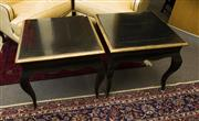 Sale 8205 - Lot 92 - A pair of ebonised and gilt square top occasional tables raised on cabriole legs, H 58 x W 64cm