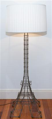 Sale 8308A - Lot 163 - An impressive wire form Eiffel Tower floor lamp with cream pleated shade, H 164cm
