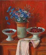 Sale 8838 - Lot 549 - Margaret Olley (1923 - 2011) - Corn Flowers and Cherries, 1976 53 x 44.5cm