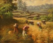 Sale 8645 - Lot 2056 - Artist Unknown (Balinese School) - Field Workers, Bali 27 x 33cm
