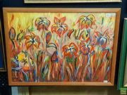 Sale 8631 - Lot 2046 - H. Rosenberg - Flowers oil on canvas on board, 46 x 64cm, signed lower left