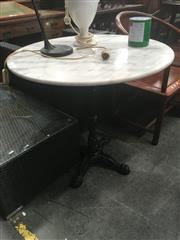 Sale 8724 - Lot 1085 - Waterproofed Marble Top Table (Diameter 80cm)