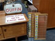 Sale 8765 - Lot 1007 - Mark Duffin Bookies Bag with Tote Board and Each Way Sign