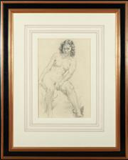 Sale 8908H - Lot 67 - NORMAN LINDSAY (1879 - 1969) - Reclining Nude (Rita) image size 51cm x 34cm