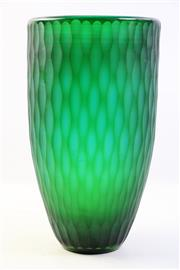 Sale 8997 - Lot 60 - Monumental Vintage Studio Forest Green Textured Glass Vase, H:39cm