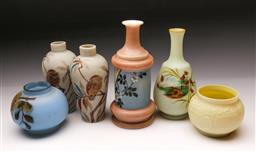 Sale 9098 - Lot 201 - Collection of Floral Themed Smokey glass Vases and a composite bowl