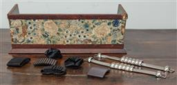 Sale 9120H - Lot 353 - A Vintage timber shelf with floral panel containing several kilt fasteners.