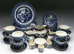 Sale 9144 - Lot 37 - Collection of blue and white ceramics inc part Churchill tea suite, and Booths ceramics (some damage)