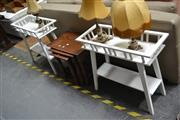 Sale 8054 - Lot 1094 - Pair of White Timber Plant Stands