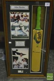 Sale 8200A - Lot 3018 - Signed Alan Border Bat in a case with pictures. Well framed, a one off