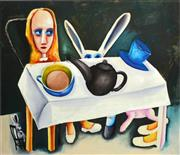 Sale 8350E - Lot 43 - Charles Blackman (1928 - ) - Feet Beneath the Table 66 x 76cm (frame size 84 x 93cm)