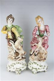Sale 8391 - Lot 23 - Capodimonte Pair of Figures