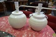 Sale 8500 - Lot 1294 - Pair of Italian Made Cream Textured Table Lamps (VINT8)