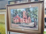 Sale 8592 - Lot 2046 - M. Heighway, - Church, Boydtown, Twofold Bay, Oil, 19x39cm