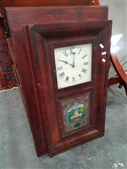 Sale 8693 - Lot 1026 - Mid-19th Century American Jerome & Co. Mahogany Veneered Wall Clock, the rectangular frame with upper door to paper dial, the pendul...