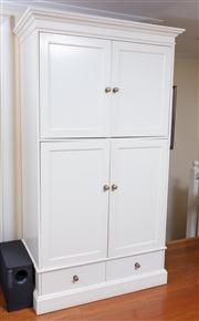 Sale 8815A - Lot 59 - A contemporary cream painted entertainment cupboard, with brass effect knobs, H x 214cm, W x 110cm, D x 70cm