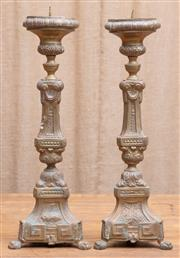 Sale 8984H - Lot 98 - A pair of hollow brass effect prickets, each height 53cm