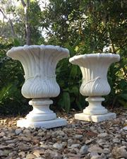 Sale 9080G - Lot 7 - A Pair Of Carved White Marble Urn Planters. General Wear , Has Natural Stone Vein Line /Fissure . Consist with 2 Part (pot and base)...