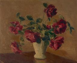 Sale 9109A - Lot 5002 - Dorothy Edwards (1907 - ) Still Life with Roses oil on board 33.5 x 39 cm (frame: 45 x 51 x 4 cm) unsigned