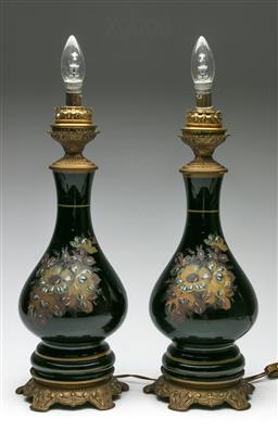 Sale 9209V - Lot 47 - A pair of European painted ceramic table lamps (H: 55cm) (Untested)