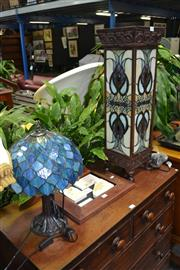 Sale 8046 - Lot 1038 - Leadlight Shade Lantern Style Lamp & Another Leadlight Shade Table Lamp