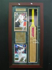 Sale 8200A - Lot 3021 - Steve Waugh Signed Bat in a Case, nicely framed collage with Waugh inscribing the bat Always 100%