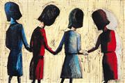 Sale 8350E - Lot 14 - Charles Blackman (1928 - ) - Four School Girls 66 x 100cm
