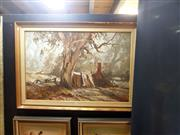 Sale 8671 - Lot 2023 - Terry Gleeson - Cottage by the Tree, oil on board (AF), 59.5 x 90cm, signed lower right