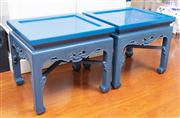 Sale 8815A - Lot 68 - A pair of blue painted Chinese low tables, Hx 50cm, W x 56cm, D x 47cm, water damage to the top of one.