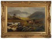 Sale 8908H - Lot 71 - HENRY GARLAND (1854 - 1900) - In the Highlands image size 60cm x 90cm in elaborate gilt frame