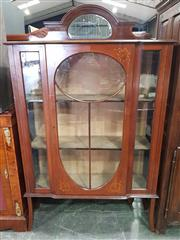 Sale 8993 - Lot 1003 - Edwardian Mahogany Display Cabinet, with low mirror back, an inlaid astragal door & on splayed feet (H:178 x W:110 x D:37cm) (Key in...