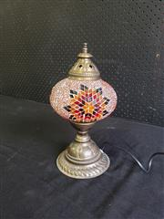 Sale 8996 - Lot 1097 - Middle Eastern Style Metal & Leadlight Table Lamp (H: 28cm)