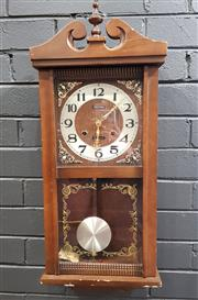 Sale 8996 - Lot 1072 - Timber Cased Wall Clock (h:73 x w:29cm)