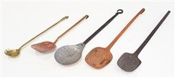Sale 9126 - Lot 1090 - Set of 5 vintage brass skimmers and a ladle
