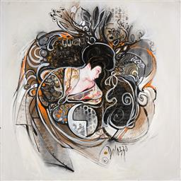 Sale 9256A - Lot 5069 - LUCETTE DALOZZO (1945 - ) Geisha II acrylic and mixed media on canvas 100 x 100 cm signed lower right, inscribed and titled verso