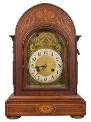 Sale 7978 - Lot 5 - Oak Inlaid Mantle Clock Retailed by S. Fisher Ltd