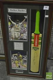 Sale 8200A - Lot 3019 - Matthew Hayden Signed Bat with framed collage. A one off